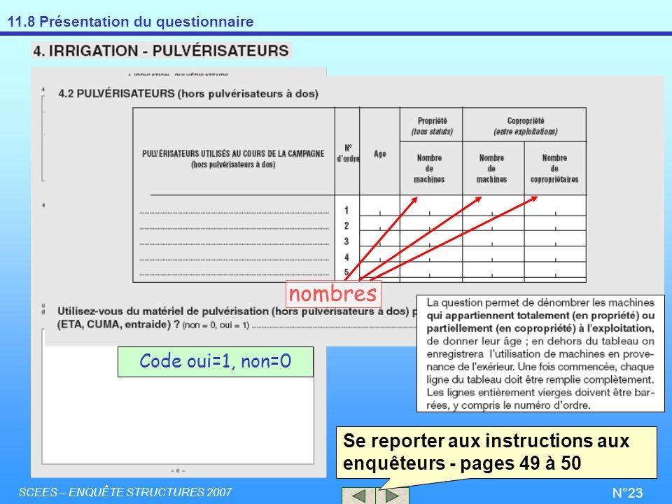 nombres Code oui=1, non=0. Se reporter aux instructions aux enquêteurs - pages 49 à 50.
