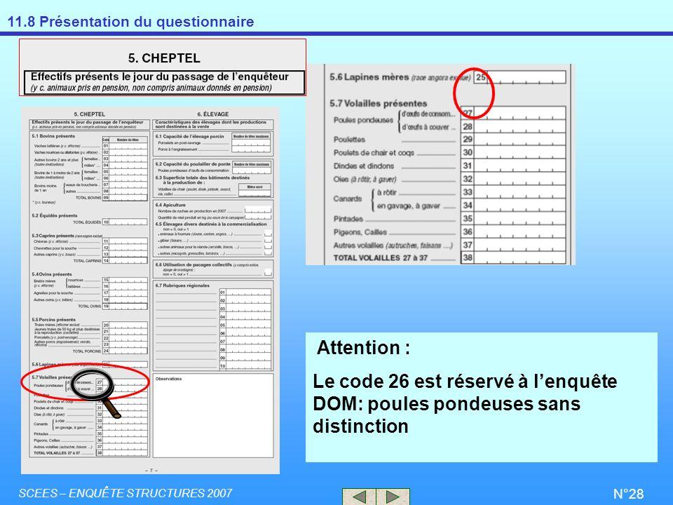 Attention : Le code 26 est réservé à l'enquête DOM: poules pondeuses sans distinction.