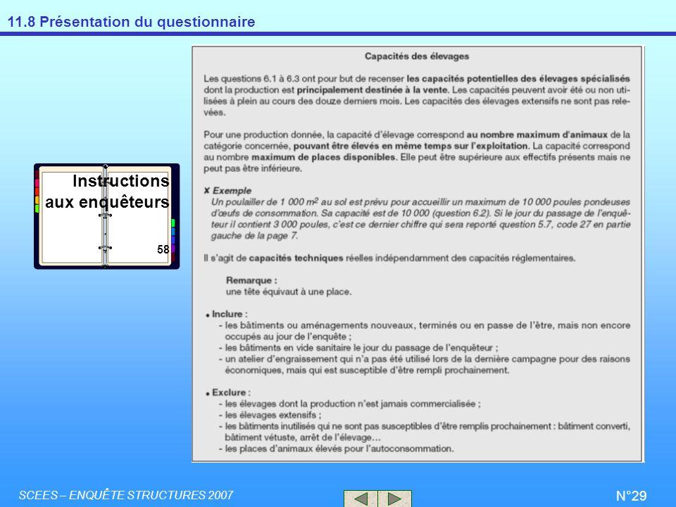 Instructions aux enquêteurs 58 SCEES – ENQUÊTE STRUCTURES 2007