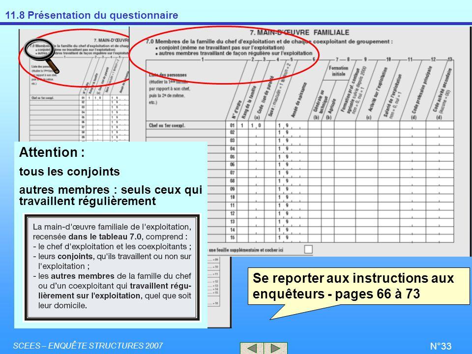 Se reporter aux instructions aux enquêteurs - pages 66 à 73