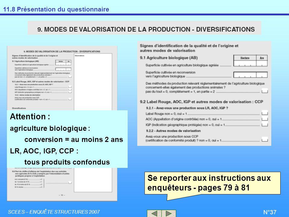 Se reporter aux instructions aux enquêteurs - pages 79 à 81