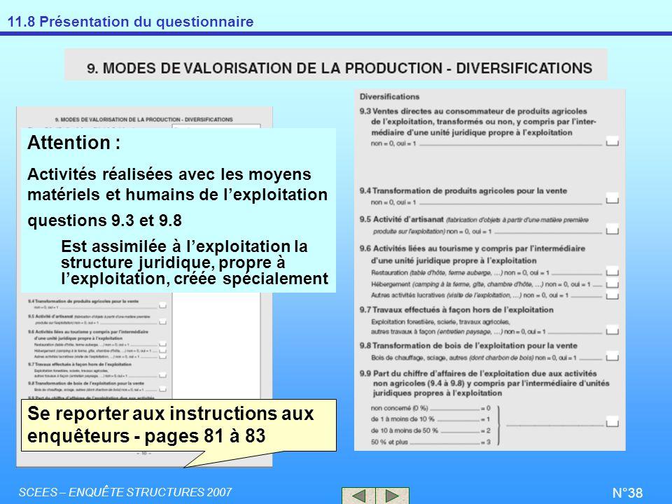 Se reporter aux instructions aux enquêteurs - pages 81 à 83