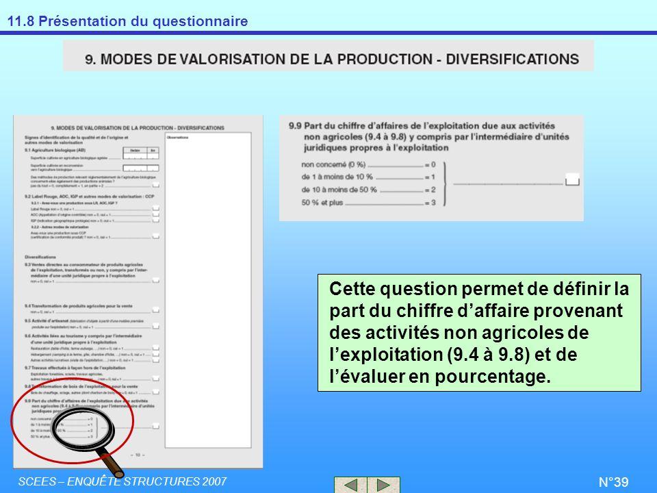 Cette question permet de définir la part du chiffre d'affaire provenant des activités non agricoles de l'exploitation (9.4 à 9.8) et de l'évaluer en pourcentage.