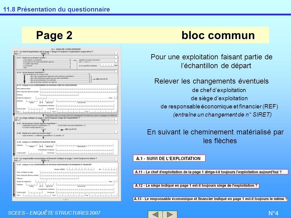 Page 2 bloc commun Pour une exploitation faisant partie de l'échantillon de départ. Relever les changements éventuels.