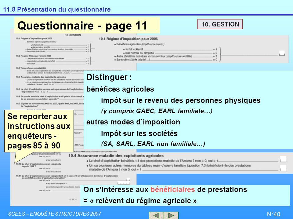 Questionnaire - page 11 Distinguer :