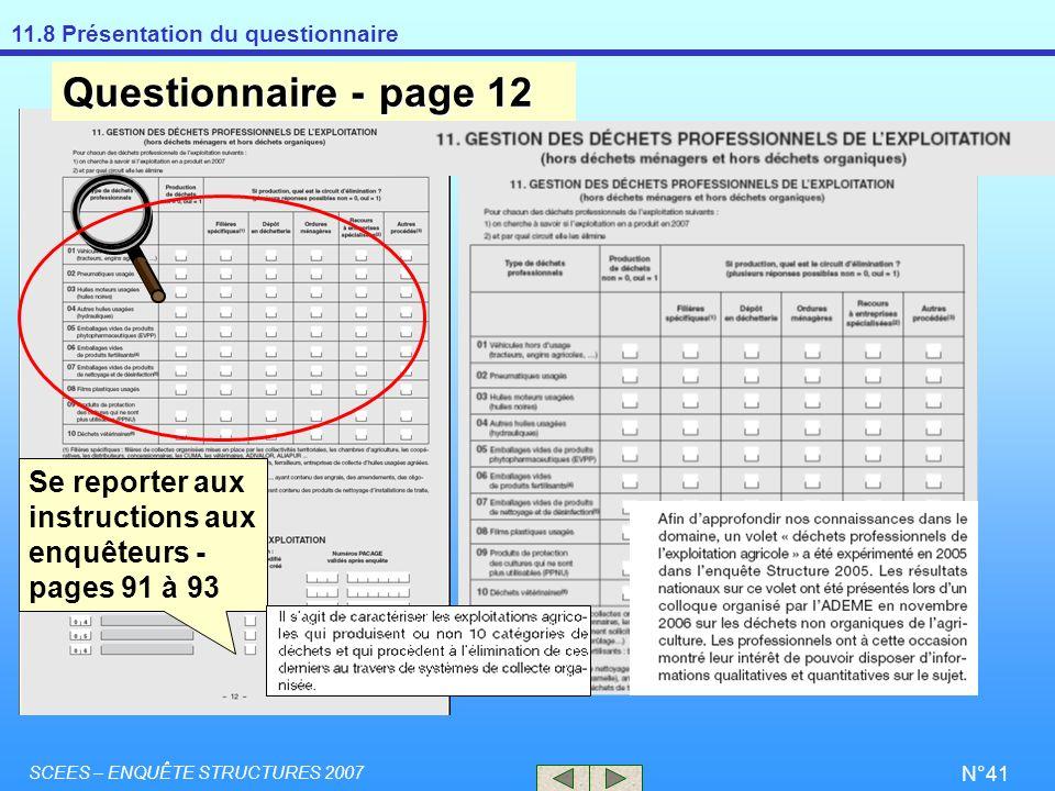 Questionnaire - page 12 Se reporter aux instructions aux enquêteurs - pages 91 à 93.