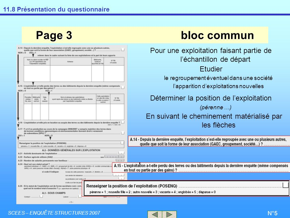 Page 3 bloc commun Pour une exploitation faisant partie de l'échantillon de départ. Etudier. le regroupement éventuel dans une société.