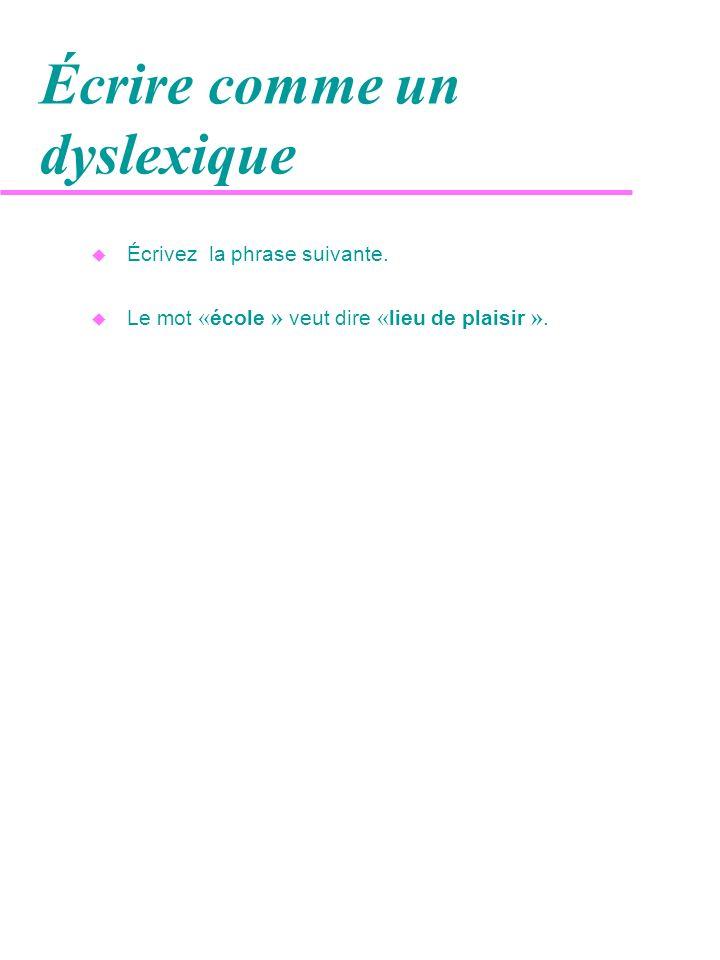Écrire comme un dyslexique