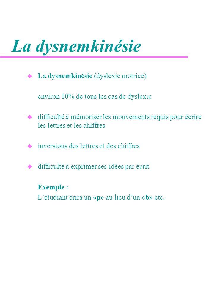 La dysnemkinésie La dysnemkinésie (dyslexie motrice)