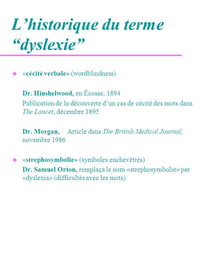 L'historique du terme dyslexie