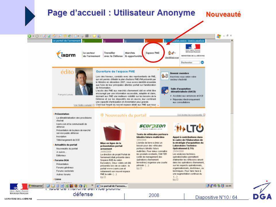 Page d'accueil : Utilisateur Anonyme