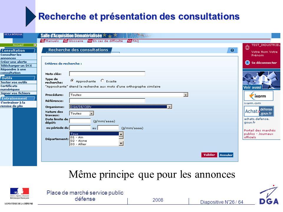 Recherche et présentation des consultations
