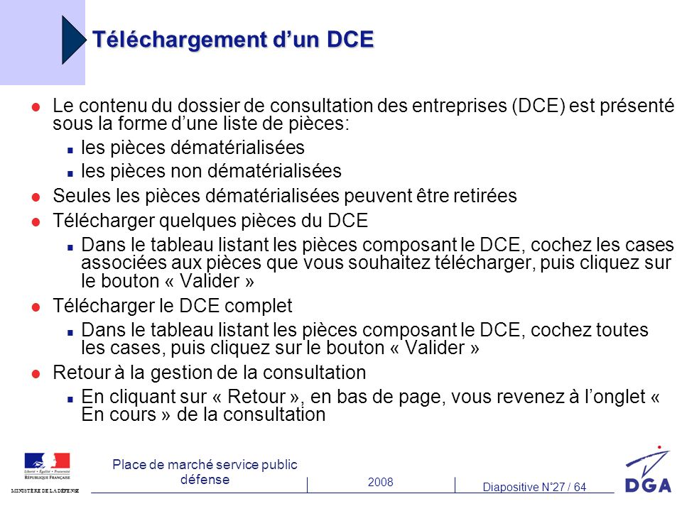 Téléchargement d'un DCE