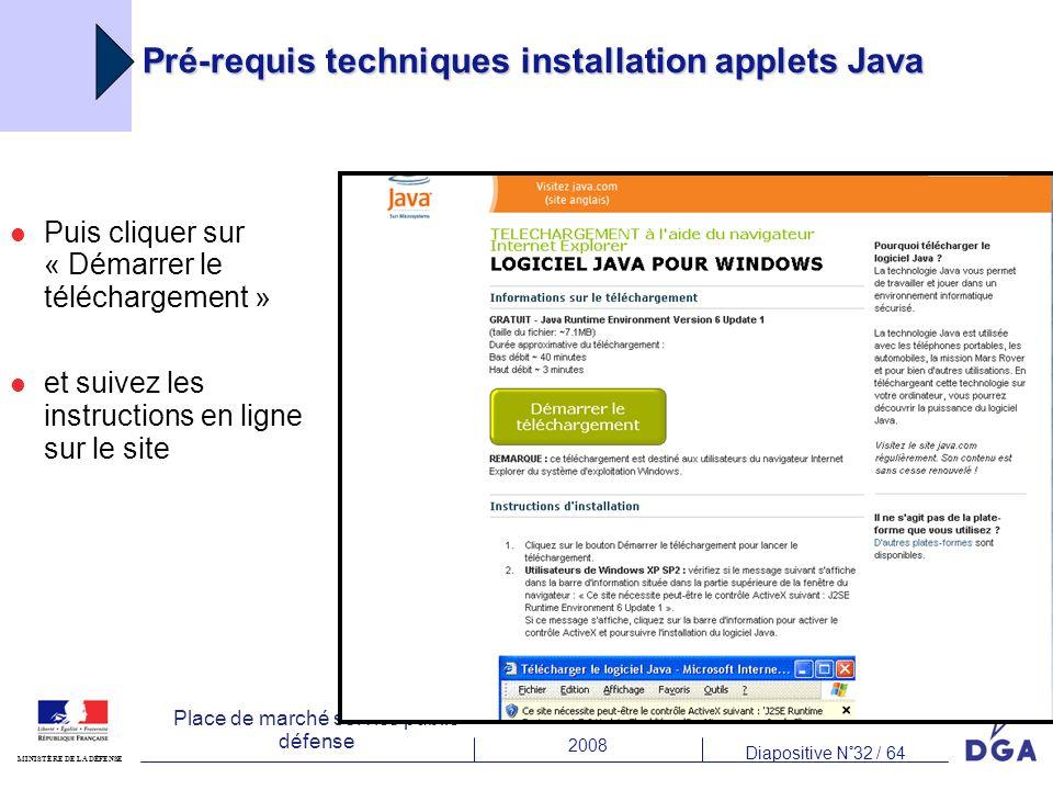Pré-requis techniques installation applets Java