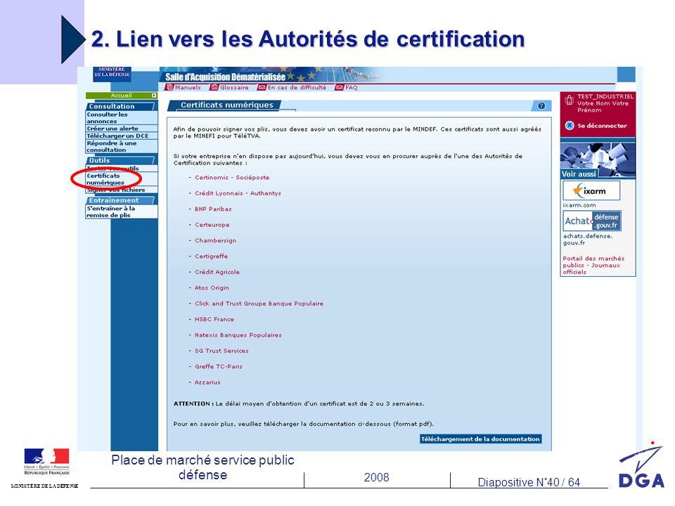 2. Lien vers les Autorités de certification