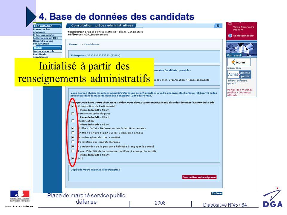 4. Base de données des candidats
