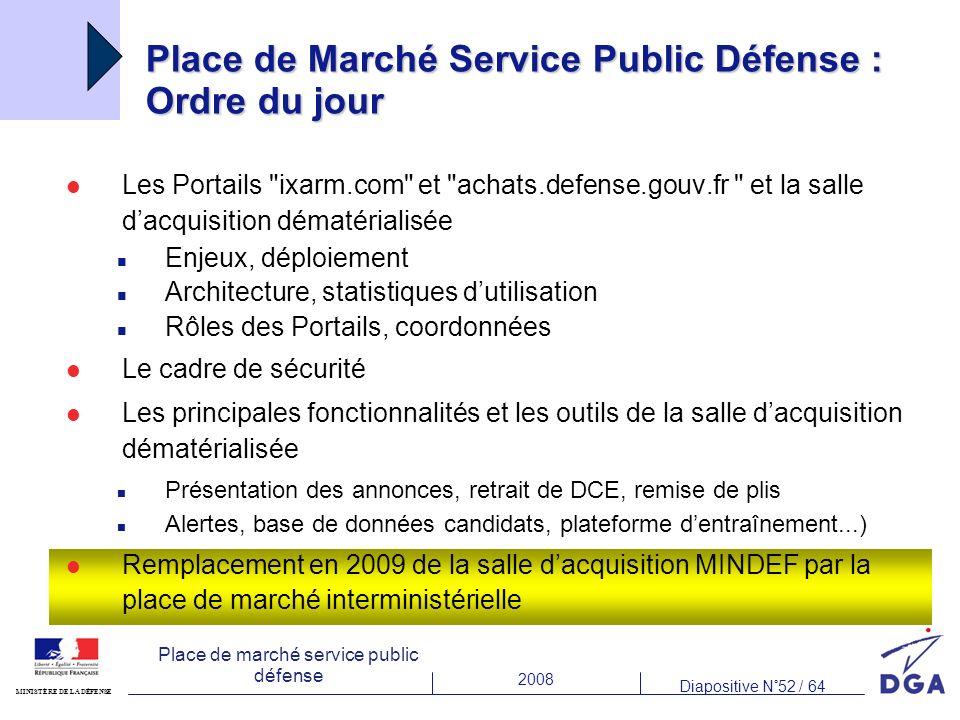 Place de Marché Service Public Défense : Ordre du jour