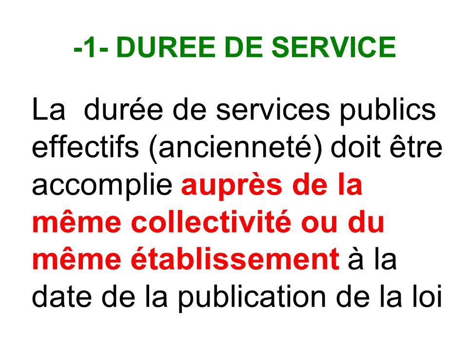 -1- DUREE DE SERVICE