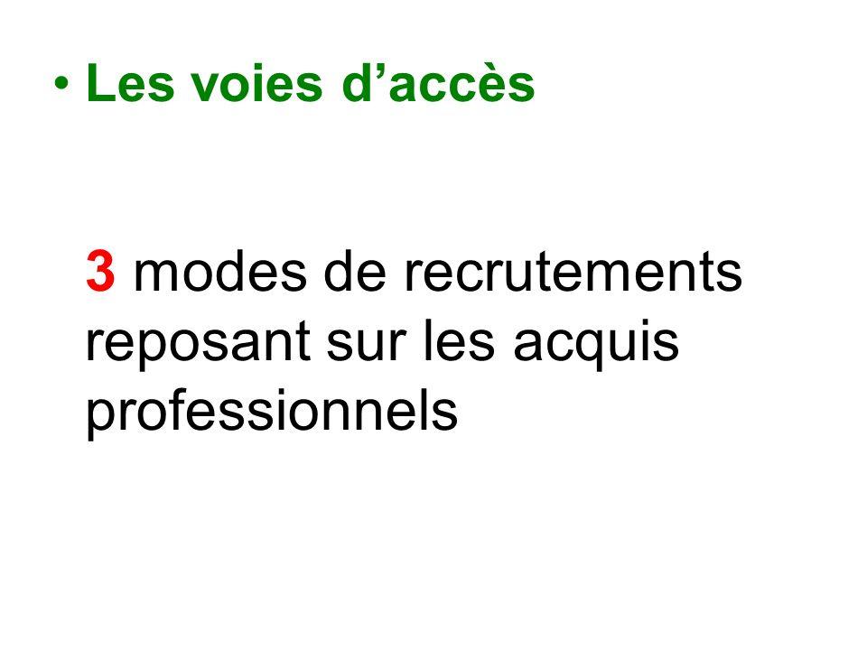 Les voies d'accès 3 modes de recrutements reposant sur les acquis professionnels