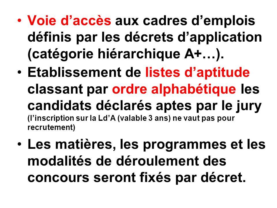 Voie d'accès aux cadres d'emplois définis par les décrets d'application (catégorie hiérarchique A+…).