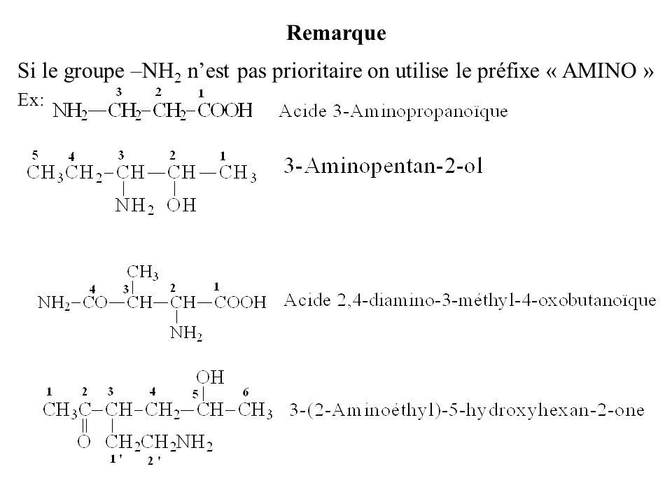 Remarque Si le groupe –NH2 n'est pas prioritaire on utilise le préfixe « AMINO » Ex: