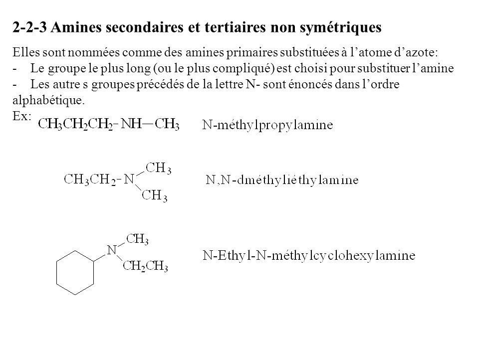 2-2-3 Amines secondaires et tertiaires non symétriques