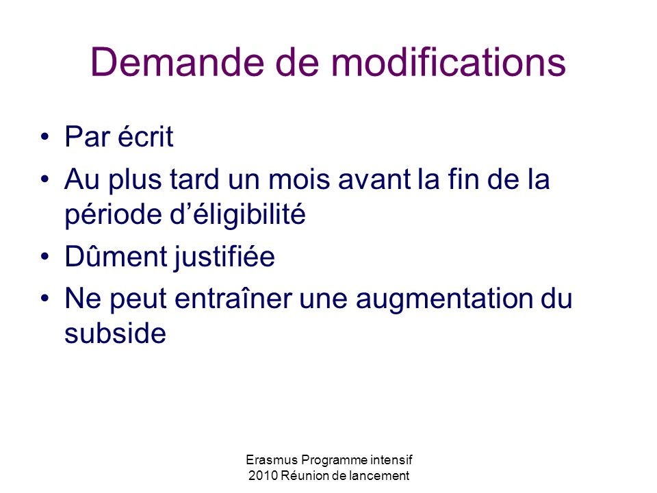 Demande de modifications