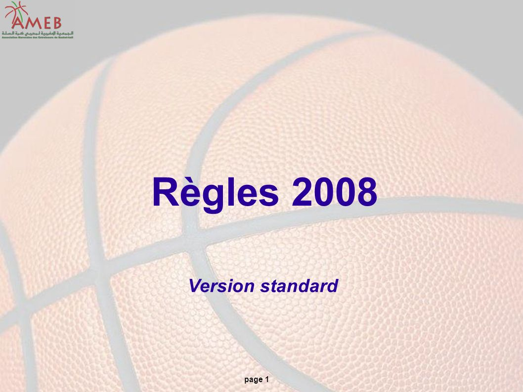 Règles 2008 Version standard