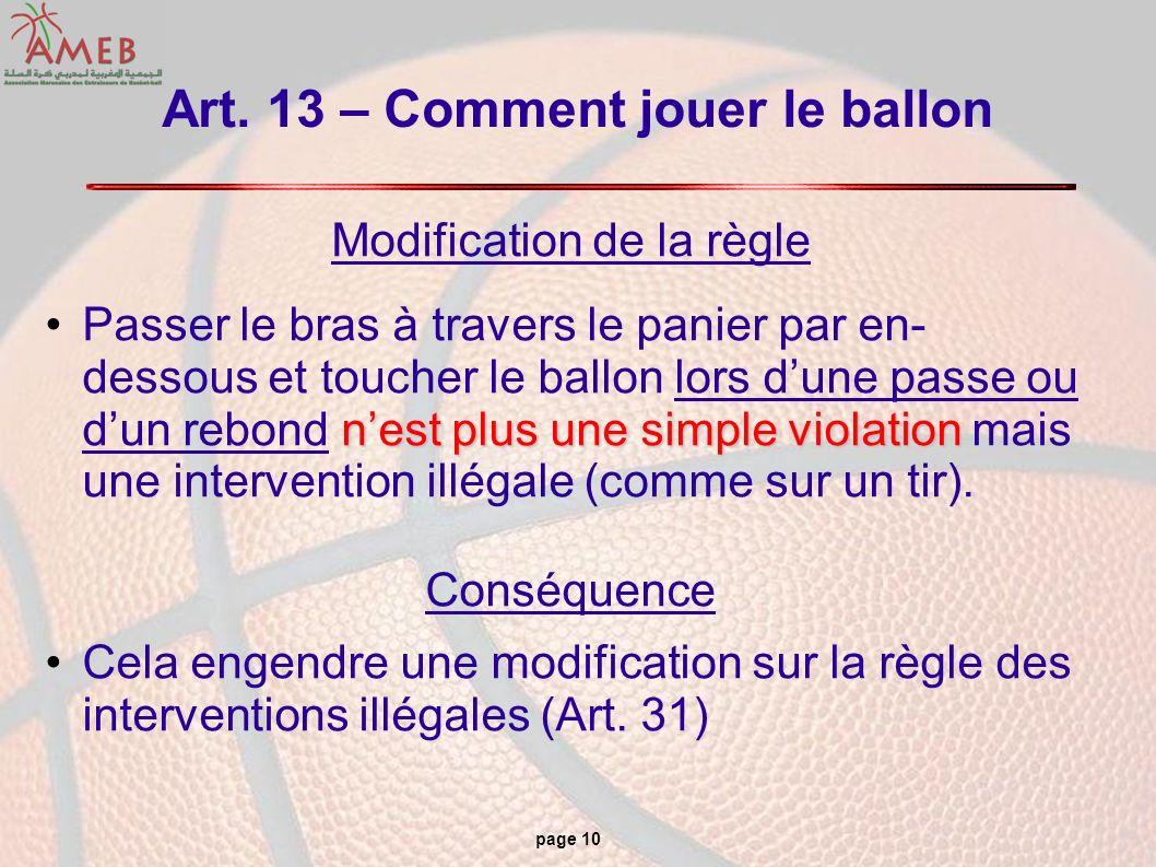 Art. 13 – Comment jouer le ballon
