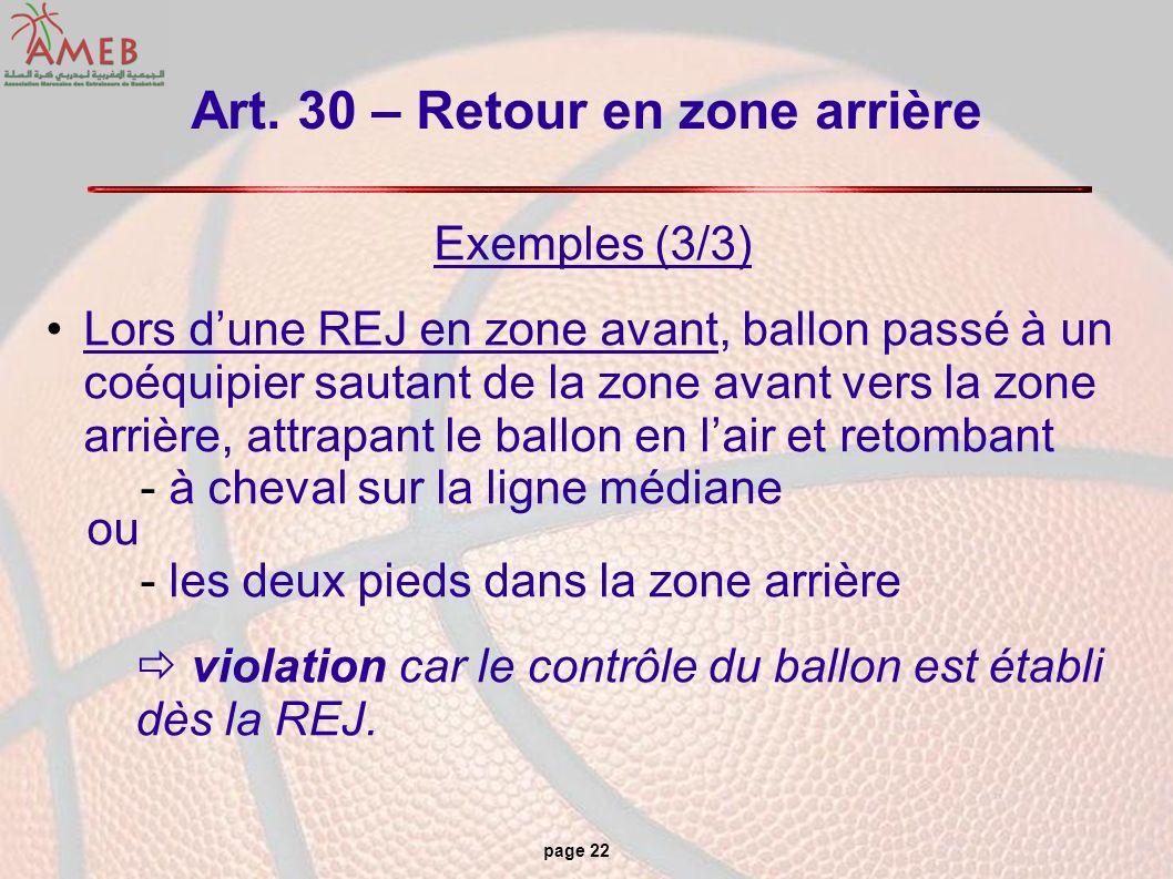 Art. 30 – Retour en zone arrière