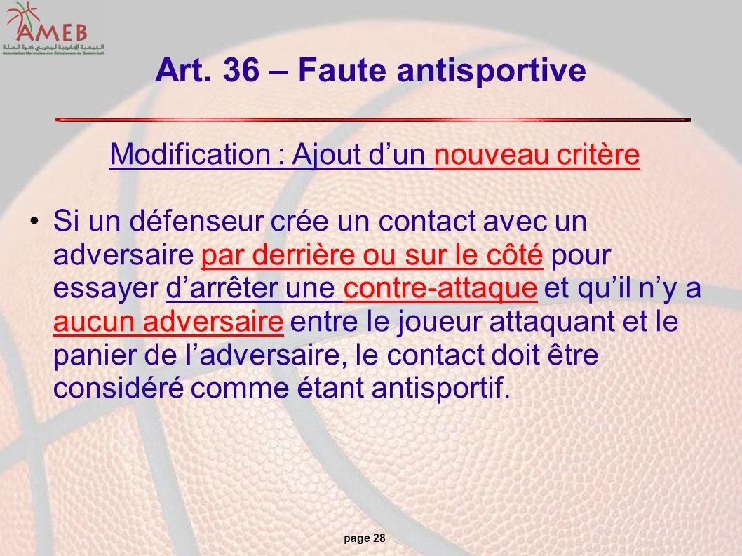Art. 36 – Faute antisportive