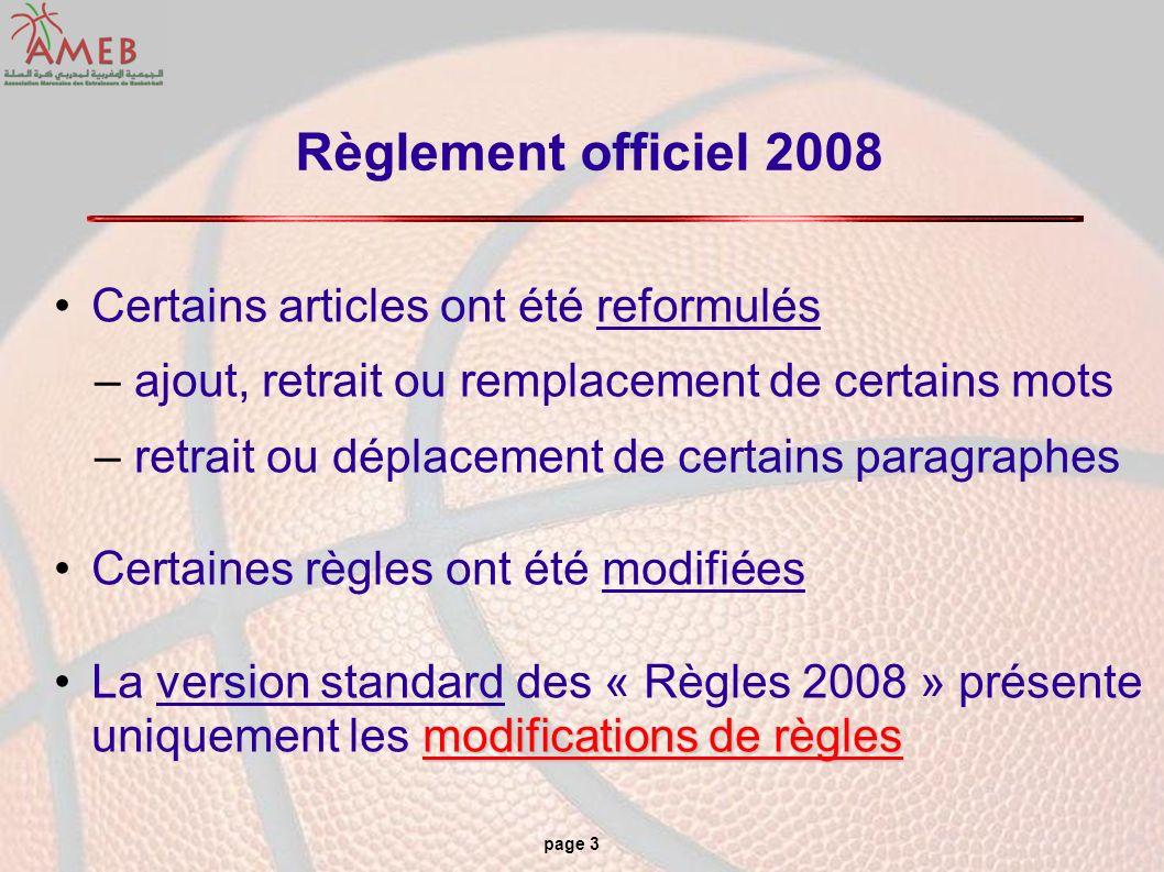 Règlement officiel 2008 Certains articles ont été reformulés