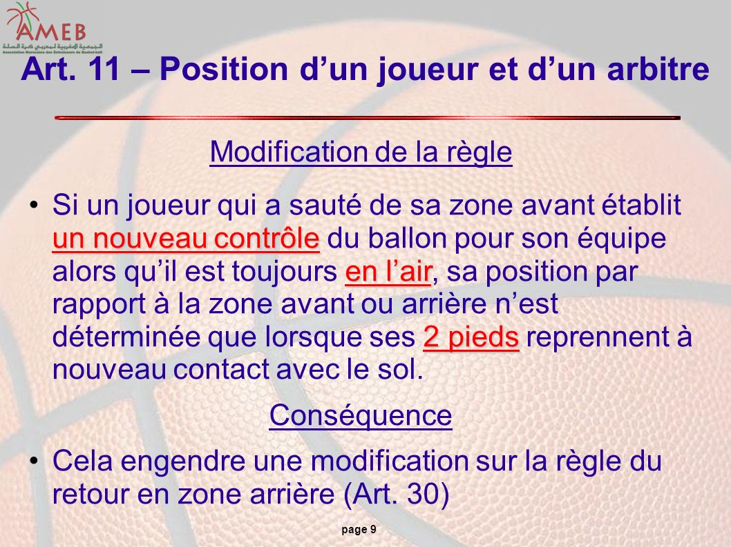 Art. 11 – Position d'un joueur et d'un arbitre