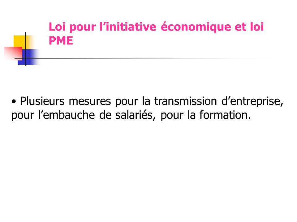 Loi pour l'initiative économique et loi PME