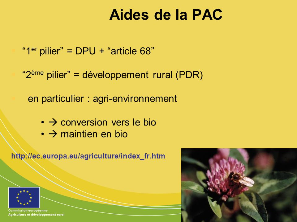 Aides de la PAC 1er pilier = DPU + article 68