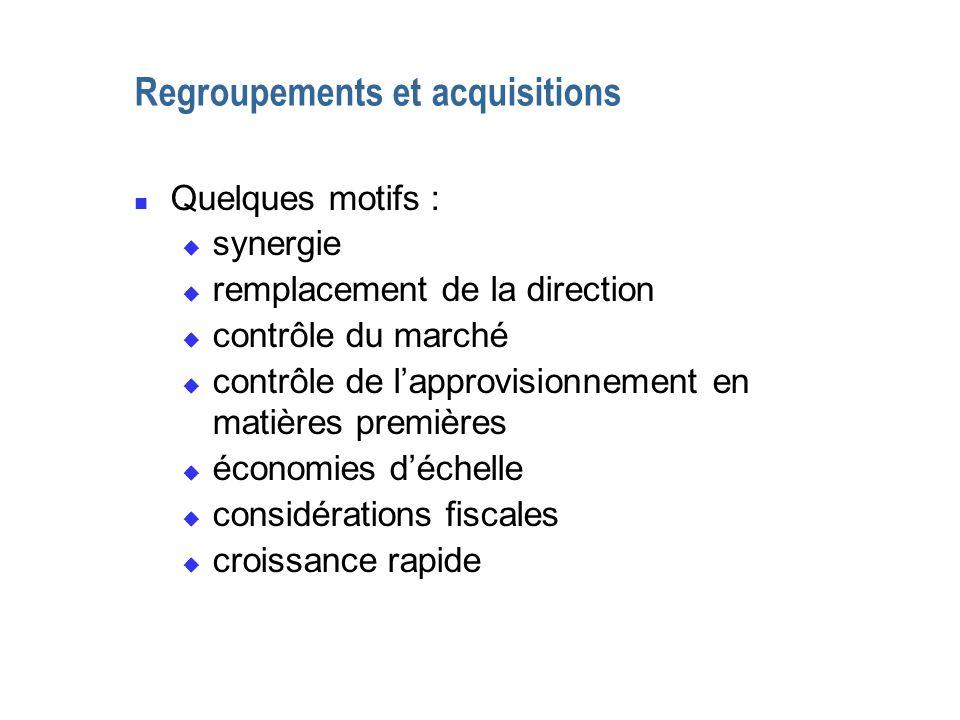 Regroupements et acquisitions