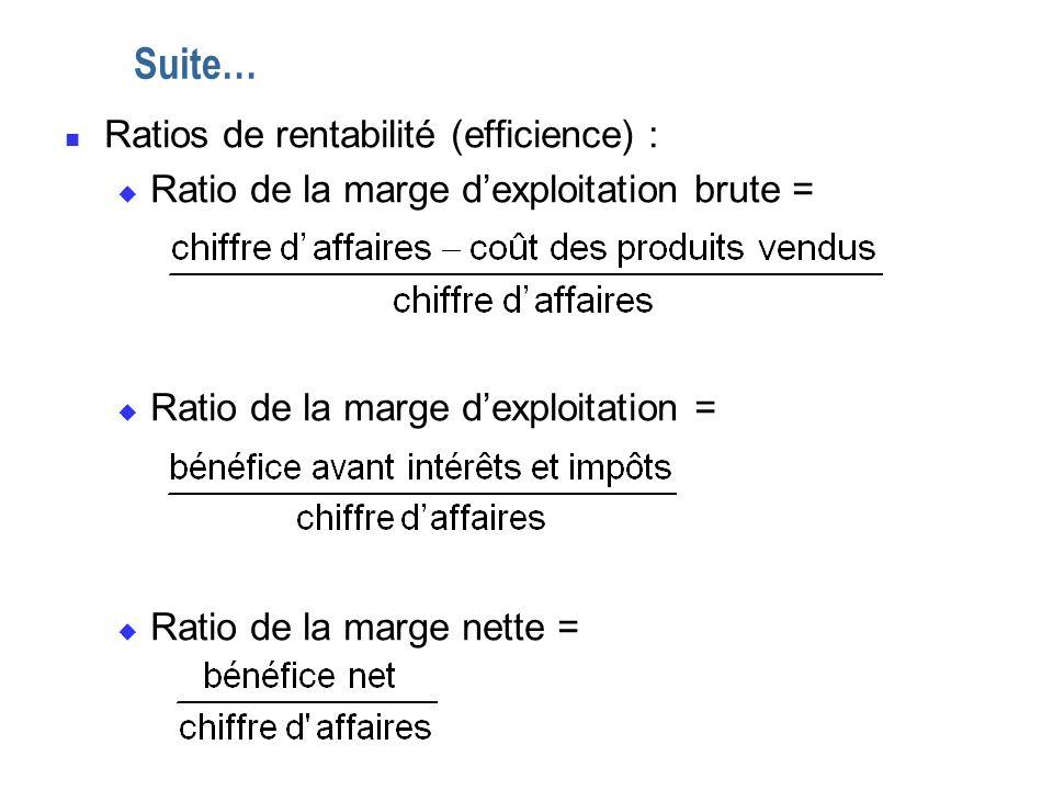 Suite… Ratios de rentabilité (efficience) :