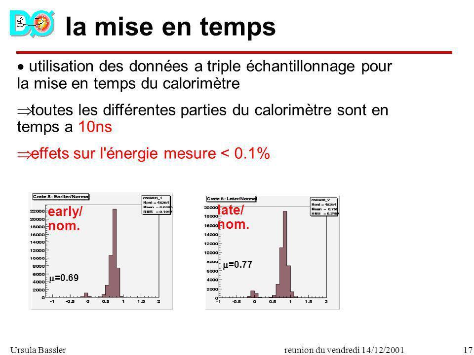la mise en temps utilisation des données a triple échantillonnage pour la mise en temps du calorimètre.