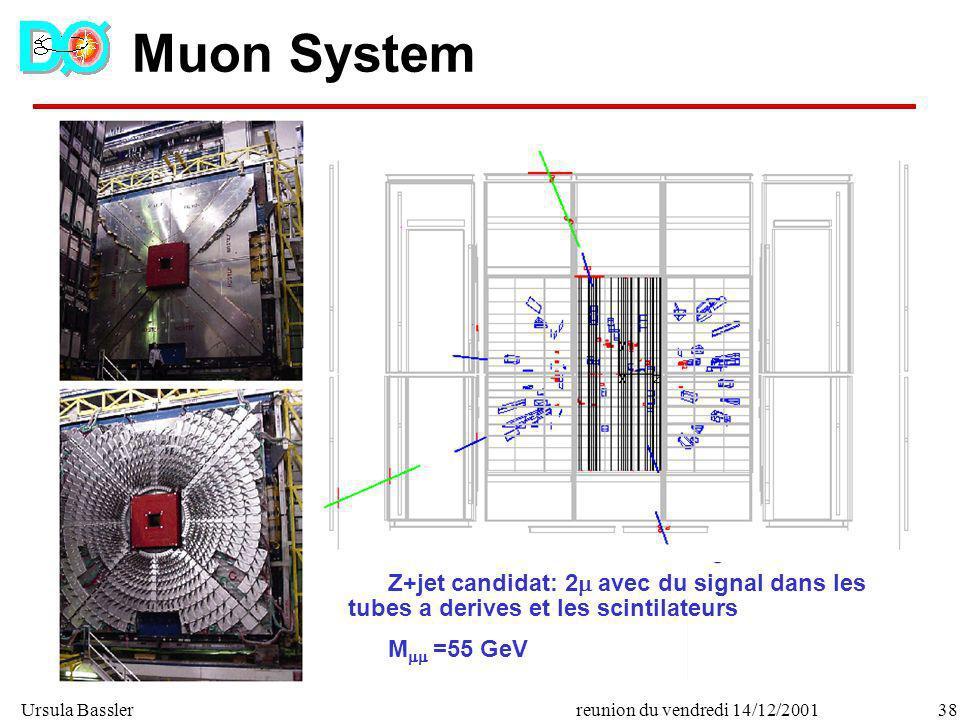 Muon System Z+jet candidat: 2 avec du signal dans les tubes a derives et les scintilateurs.