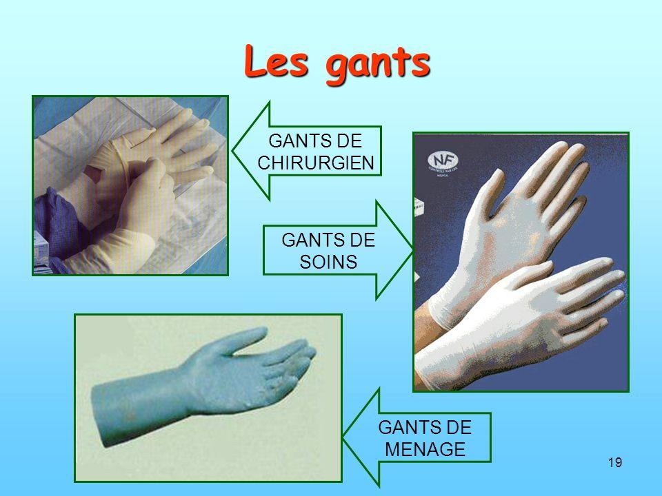 Les gants GANTS DE CHIRURGIEN GANTS DE SOINS GANTS DE MENAGE