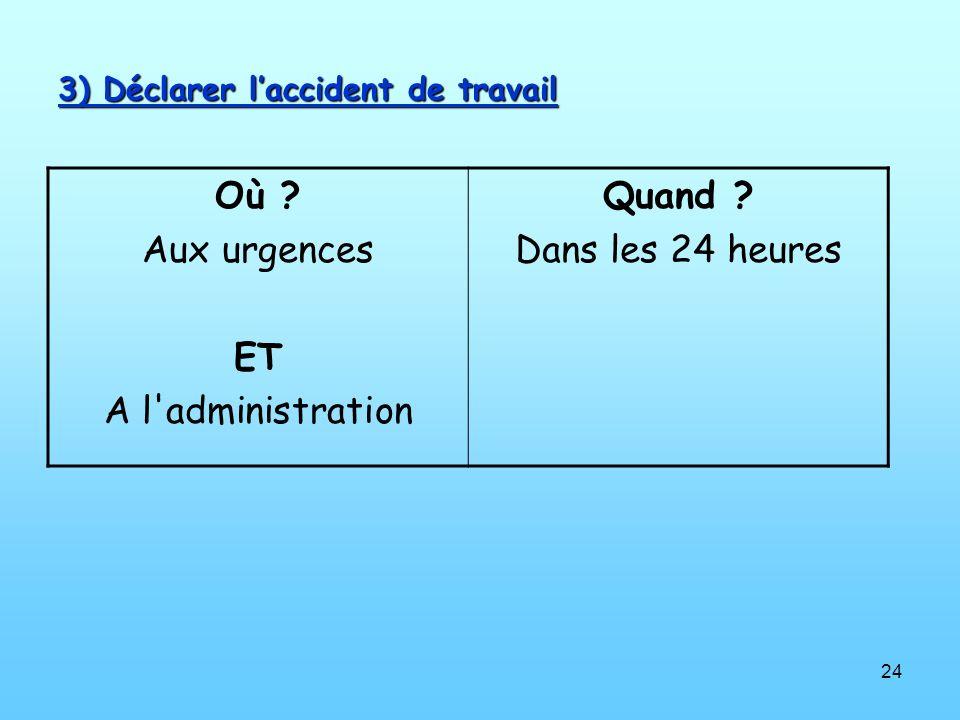 3) Déclarer l'accident de travail