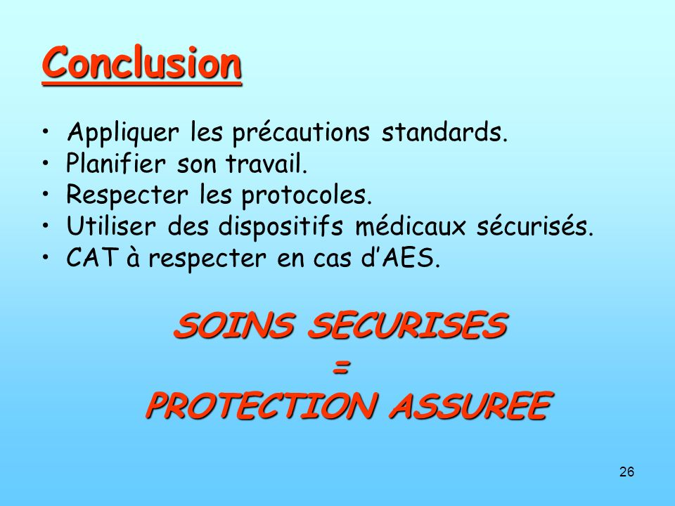 Conclusion SOINS SECURISES = PROTECTION ASSUREE