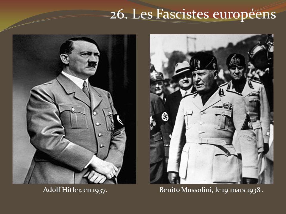 Benito Mussolini, le 19 mars 1938 .