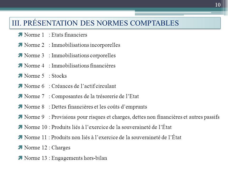 III. PRÉSENTATION DES NORMES COMPTABLES