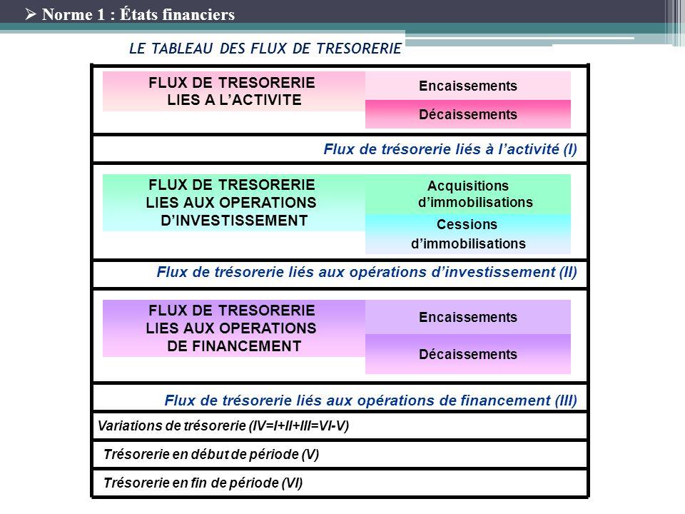LE TABLEAU DES FLUX DE TRESORERIE Acquisitions d'immobilisations