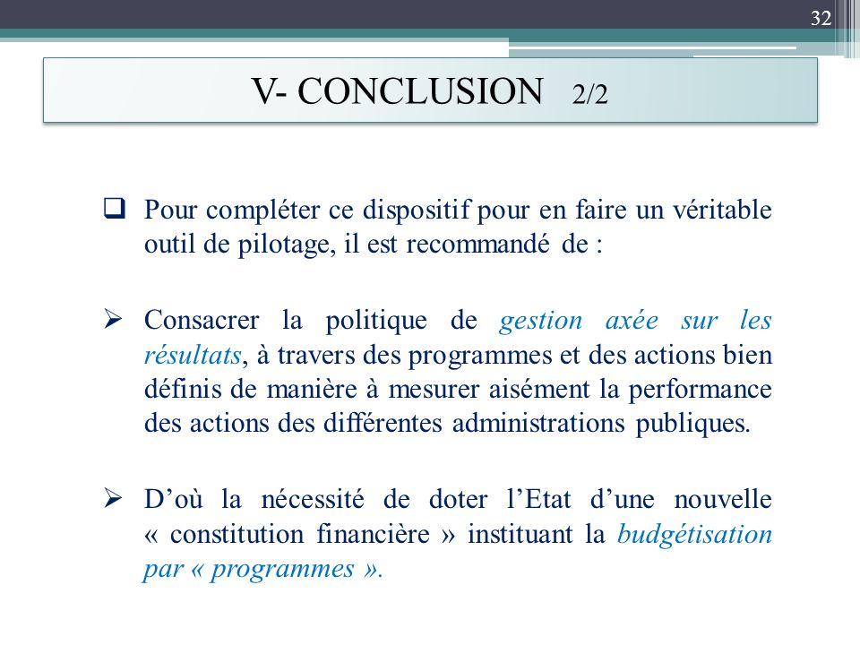 V- CONCLUSION 2/2 Pour compléter ce dispositif pour en faire un véritable outil de pilotage, il est recommandé de :