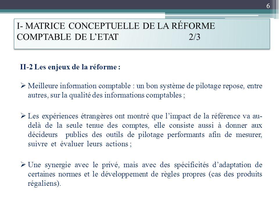 I- MATRICE CONCEPTUELLE DE LA RÉFORME COMPTABLE DE L'ETAT 2/3