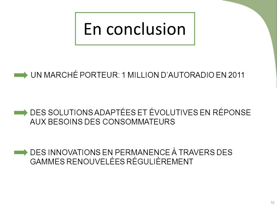 En conclusion UN MARCHÉ PORTEUR: 1 MILLION D'AUTORADIO EN 2011