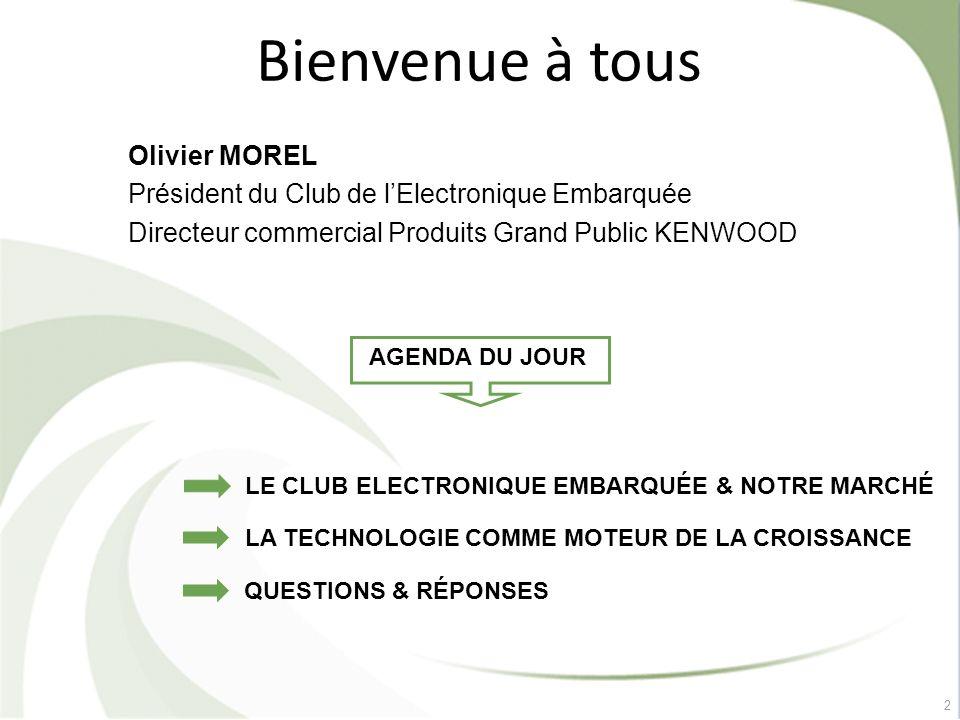 Bienvenue à tous Olivier MOREL Président du Club de l'Electronique Embarquée Directeur commercial Produits Grand Public KENWOOD