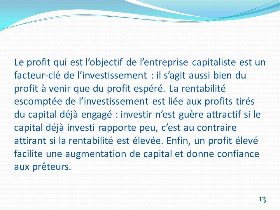 Le profit qui est l'objectif de l'entreprise capitaliste est un facteur-clé de l'investissement : il s'agit aussi bien du profit à venir que du profit espéré.